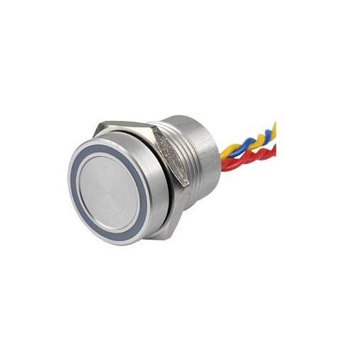 APEM PBAR11F0000W0B 16mm piezo button. anodized aluminum Blue LED on-off