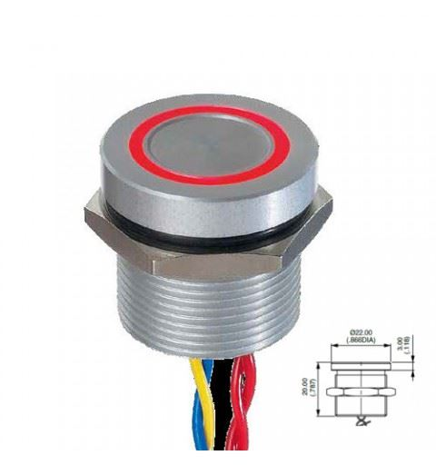 APEM PBAR91F6000W2A Piezo Push button 19mm anodized aluminum Red, led red/green on-off