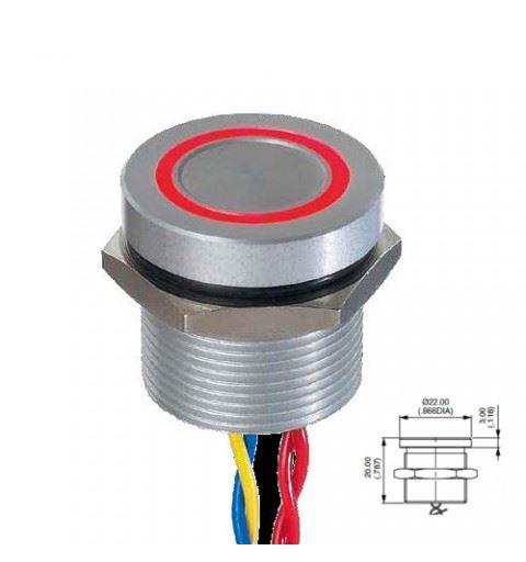 APEM PBAR91F6000W2A Pulsante Piezo 19mm alluminio anodizzato Rosso, led Rosso/Verde on-off