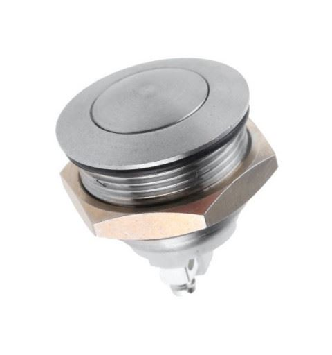 APEM AV031001A200K Vandalproof button Ø22mm nichel Off-On 250Vac 1A