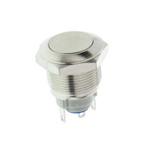 APEM AV09100EA800K Pulsante Antivandalo Ø19mm bistabile ottone nichelato 48Vdc 2A Quick-connect IP65