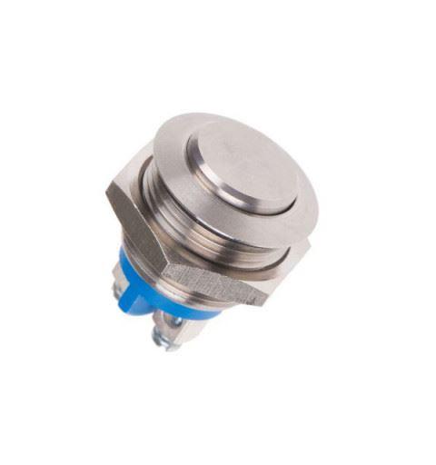 APEM AV091001A800K Vandal resistant bistable button Ø19mm nickel brass 250Vac 1A IP65, mini faston