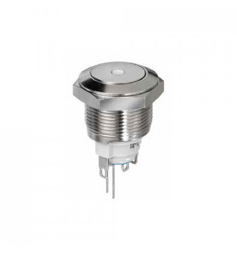 APEM AV091L6EA800K Vandal Proof Button Ø19mm bistable nickel brass 48Vdc 2A Red Led Quick-connect IP65
