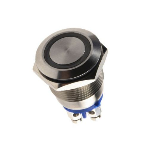 APEM AV9SLD9481002K Anti-vandal push button Ø19mm stainless steel No 24Vdc 50mA blue led IP67