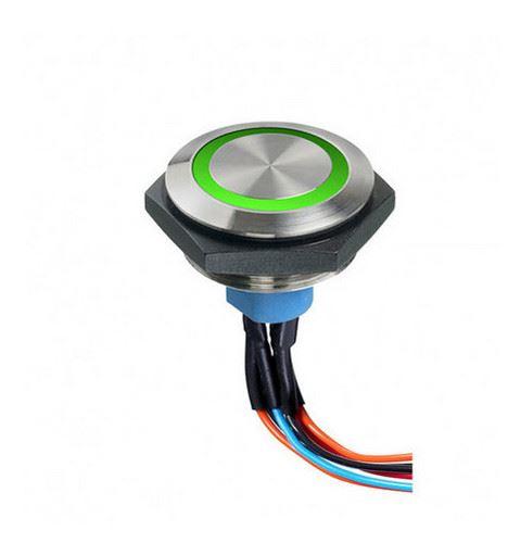 APEM AV5222F1020700K Vandalproof push button Ø30mm nickel red / green led No / Nc, IP67