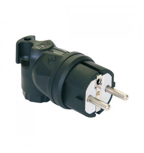 PCE 05821-s TAURUS Schuko plug 90 ° double earth 2P + PE 16A 250V Black, PA6