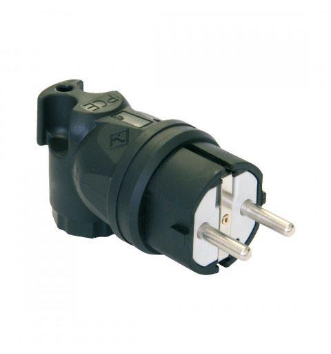 PCE 05822-s TAURUS Schuko plug 90 ° double earth 2P + PE 16A 250V Black, TPE