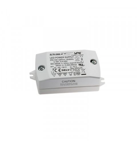 Self SLT6-350IL-4 Driver LED CC+CV 6watt 3-22Vdc 350mA or 24vdc 300mA IP20