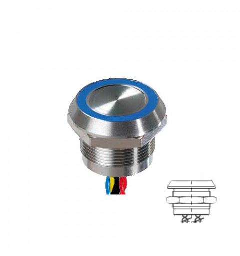 APEM PBARYACB002E3A Piezo button 22mm. stainless steel NO 24Vac / dc max 1A Red / Green / Blue IP68 with 30cm cable