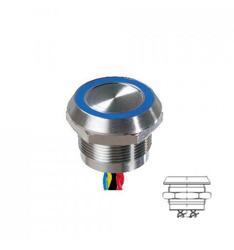 APEM PBARYACB002E3A Pulsante piezo 22mm. acciaio inox NO 24Vac/dc max 1A Rosso/Verde/Blu IP68 con cavo 30cm