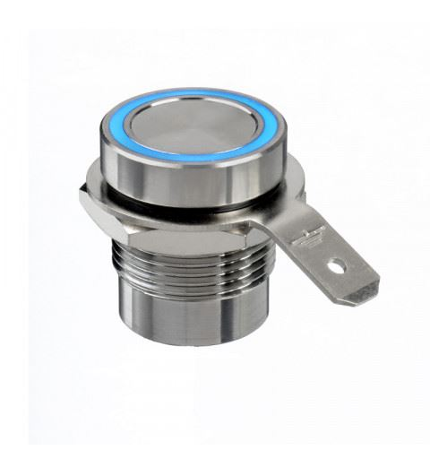 APEM PBAR1AFB000A0B Piezo button 16mm stainless steel Blue led