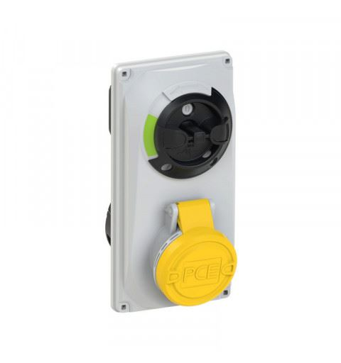 6024-4 PCE Switch Interlocked sockets Compact 32A 4p 4h IP44