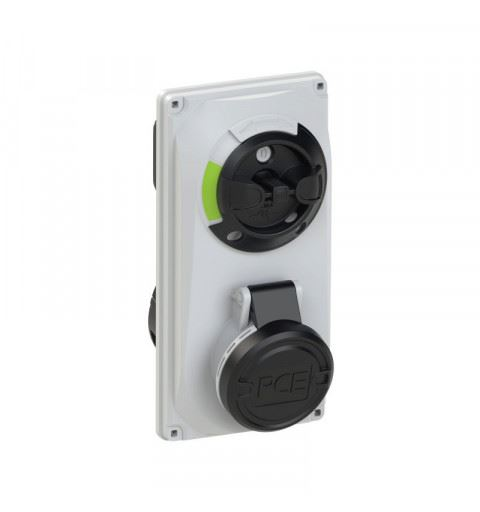 6024-7 PCE Switch Interlocked sockets Compact 32A 4p 7h IP44