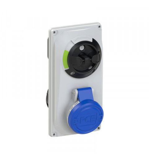 6014-9 PCE Switch Interlocked sockets Compact 16A 4p 9h IP44